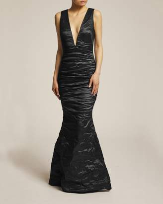 Nicole Miller Solid Techno Metal Plunge Gown