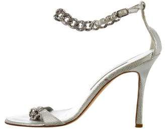 Manolo Blahnik Embellished Lizard Sandals