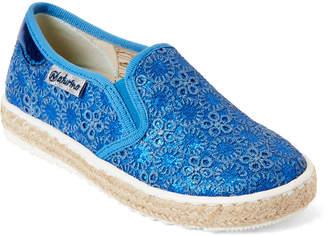 Naturino Toddler/Kids Girls) Blue Shimmer Eyelet Slip-On Sneakers