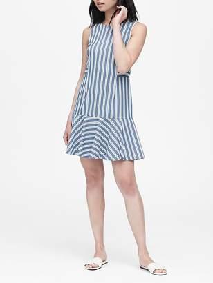 Banana Republic Petite Stripe Flounce-Hem Dress