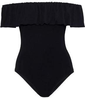 Maje Off-The-Shoulder Ruffled Jersey Bodysuit