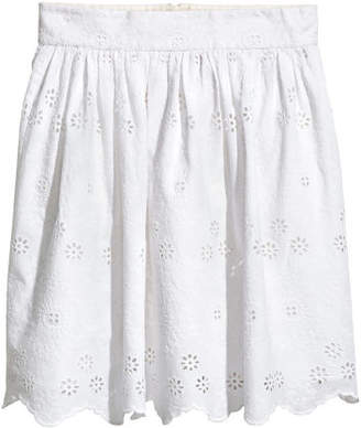 H&M Embroidered Cotton Skirt - White