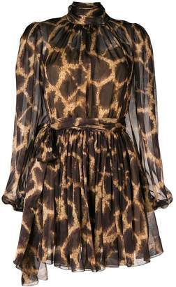 Dolce & Gabbana Leopard Print Flared Dress