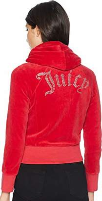 Juicy Couture Black Label Women's Cropped Velour Jacket Gothic Logo