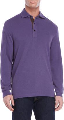 Thaddeus Elbow Patch Long Sleeve Pique Knit Polo