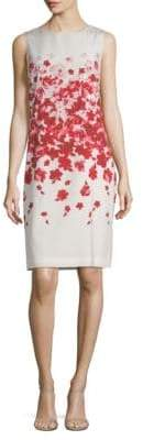 St. John Silk-Blend Floral-Print Sheath Dress