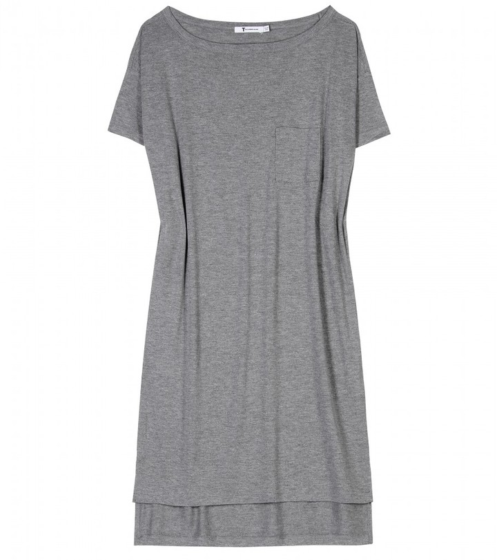 T by Alexander Wang CLASSIC BOATNECK JERSEY DRESS WITH POCKET