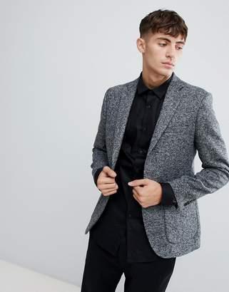 Moss Bros Skinny Knitted Blazer in Salt & Pepper