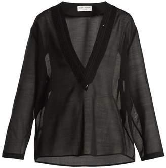 Saint Laurent - Embellished Deep V Neck Wool Blend Voile Top - Womens - Black
