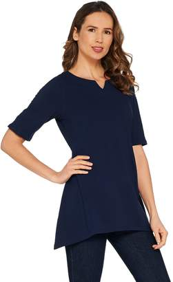 Denim & Co. Essentials Elbow Sleeve Perfect Jersey Trapeze Hem Top