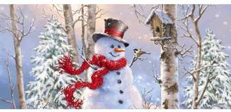 The Holiday Aisle Birch Forest Snowman Sassafras Doormat