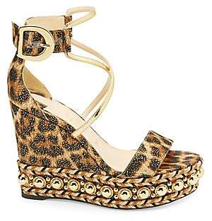 Christian Louboutin Women's Chocazeppa 120 Leopard Lurex Platform Wedge Sandals