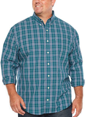 Izod Premium Essential Wovens Long Sleeve Plaid Button-Front Shirt-Big and Tall