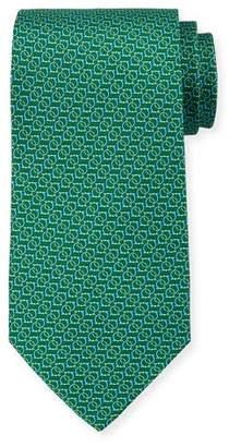 Salvatore Ferragamo Forte Interlocking Gancini Silk Tie, Green