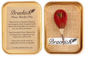 Brackish Bowties Solid Plum Thorn & Feather Lapel Pin/Brooch