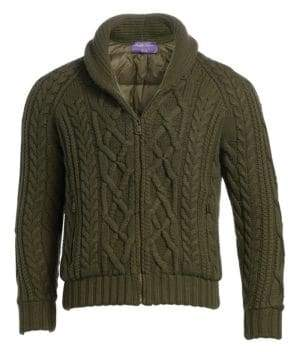Ralph Lauren Purple Label RLX Cable Knit Zip Cardigan