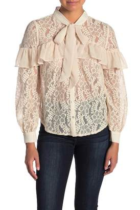 A.Calin Ruffled Lace Tie Neck Top