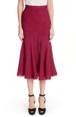 Oscar de la Renta Flare Hem Tweed Skirt