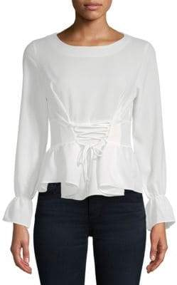 Lace-Up Waist Blouse
