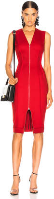 Victoria Beckham V-Neck Fitted Dress in Red | FWRD