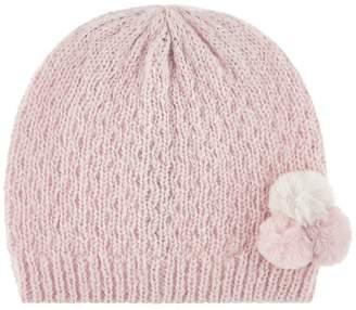 Monsoon Girls' Pink Polly Pompom Hat