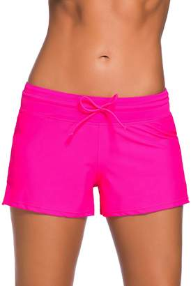 eee4969879 ENLACHIC Womens Side Split Waistband Plus Size Swim Shorts with Panty Liner