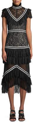 Alice + Olivia Annetta Tiered Turtleneck Lace Ruffle Midi Dress
