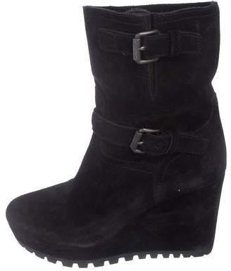 d93652a5710e Prada Suede Ankle Boots - ShopStyle