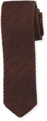 Ermenegildo Zegna Striped Silk Knit Tie