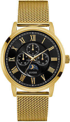 GUESS Men's Gold-Tone Stainless Steel Mesh Bracelet Watch 43mm U0871G2 $165 thestylecure.com