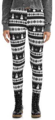 POOF Poof! Juniors' Christmas Holiday Fleece Lined Ankle Leggings