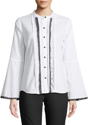 Karl Lagerfeld Paris Crochet-Loop Button-Front Blouse