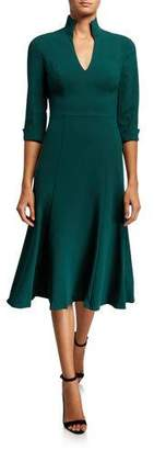 Black Halo 3/4-Sleeve Open Collar Midi Dress