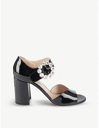 Miu Miu Crystal-embellished patent leather sandals