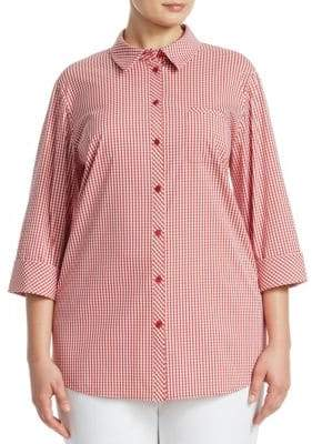 Lafayette 148 New York Lafayette 148 New York, Plus Size Ithaca Mini Check Shirt
