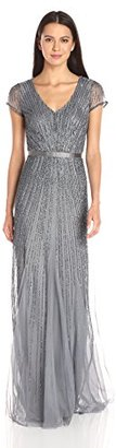 Adrianna Papell Women's Short Sleeve V-Neck Gown with Satin Waist Band $329 thestylecure.com
