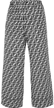 Fendi Cropped Printed Silk Crepe De Chine Wide-leg Pants - Black