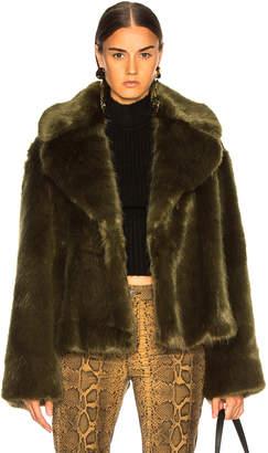 Nili Lotan Sedella Faux Fur Coat in Olive | FWRD