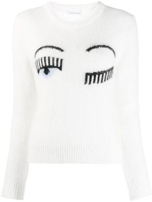 Chiara Ferragni winking sweater
