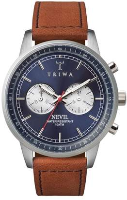 Triwa Blue Steel Nevil Chronograph Leather Strap Watch, 42mm