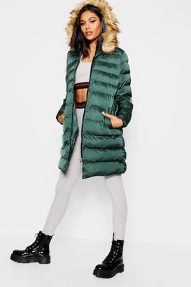 boohoo Belted Matte Satin Faux Fur Trim Puffer Jacket