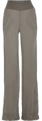 Rick Owens Ribbed Knit-Trimmed Silk-Georgette Wide-Leg Pants