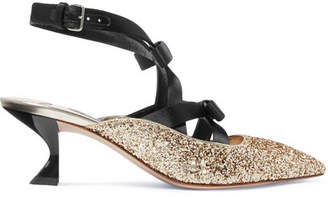Miu Miu Bow-embellished Satin And Glittered Canvas Pumps - Gold