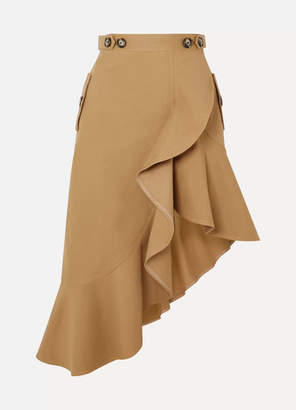 Self-Portrait Asymmetric Ruffled Cotton-canvas Skirt - Camel