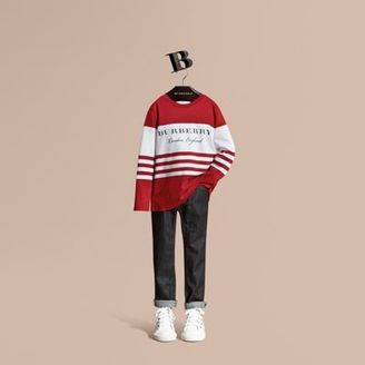 Burberry Long-sleeved Striped Cotton T-shirt $95 thestylecure.com