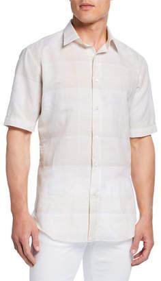 Brioni Men's Exploded Plaid Short-Sleeve Sport Shirt