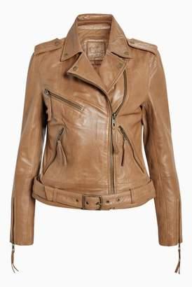 Next Womens Leather Biker Jacket Brown 6R