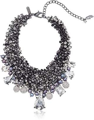 Badgley Mischka Crystal & Pearl Bib Choker Necklace