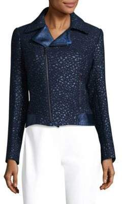 Elie Tahari Mae Leather-Trimmed Moto Jacket