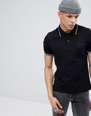 Love Moschino Polo T-Shirt In Black With Embroidered Logo
